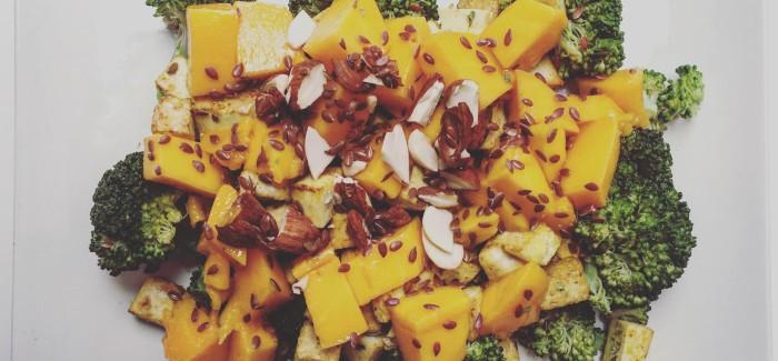 Receta de tofu, con brócoli y mango